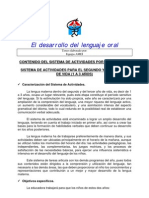 SISTEMA DE ACTIVIDADES PARA EL SEGUNDO Y TERCER AÑO  DE VIDA (1 A 3 AÑOS)