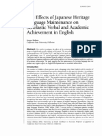 The Effects of Japanese Heritage Language Maintenance on Scholastic Verbal and Academic Achievement in English