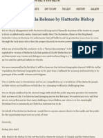Hutterite Brethren Media Release re