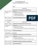 CALENDARIZACION  PROCESO ADMISIÓN 2012 - 2013