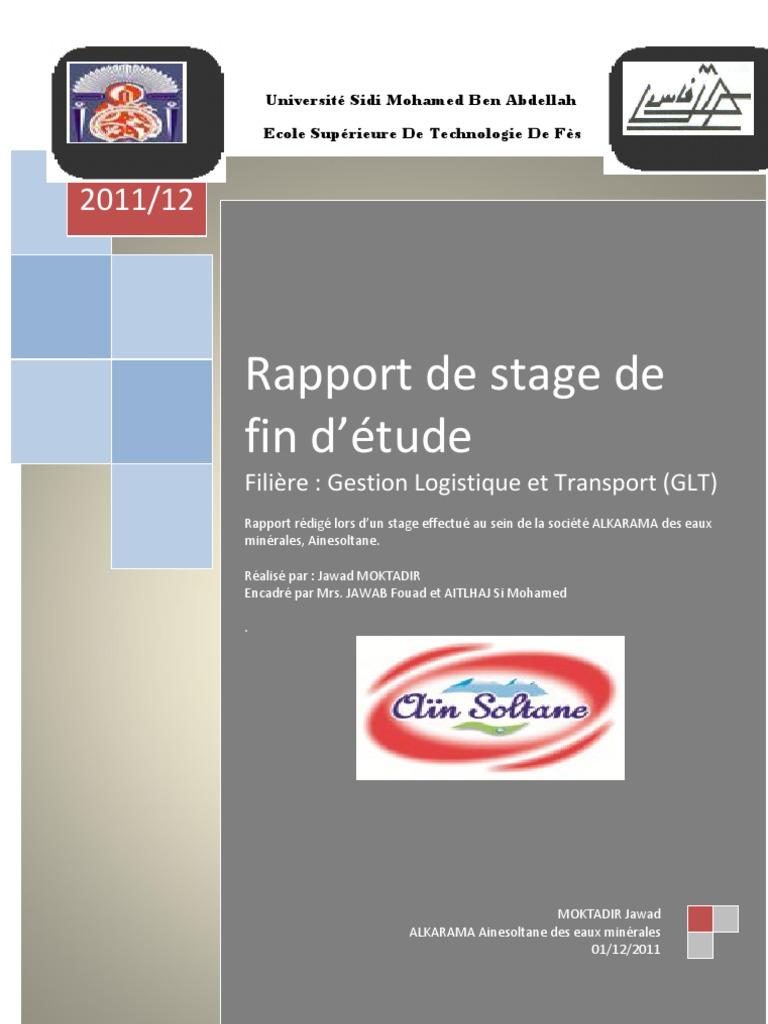 Exemple De Rapport De Stage Logistique Et Transport Pdf ...