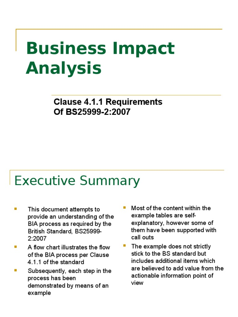 Business Impact Analysis Clause 4 Programmer Technology