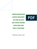 GREEN MOUNTAIN COFFEE ROASTERS' Q2 AND Q3 2011 NET SALES FIGURES LOOK ODD AND WHY IT MATTERS
