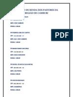 RELAÇÃO DE RENDA DOS PASTORES DA REGIÃO DE CAMBURI