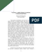 Variazione e Conflitto Di Lingue in Traduzione. I Romanzi Di Juan Marse