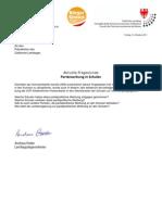 Landtagsanfrage 2011 Parteiwerbung an Schulen + Antwort + Replik Andreas Pöder