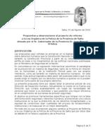 2012-08-01 Reformas propuestas al  proyecto de reforma a la Ley Orgánica de la Policía de la Provincia de Salta
