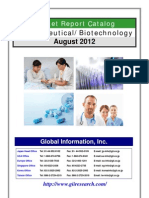 Pharmaceutical and Biotechnology Market Report Catalog - August 2012
