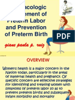 Preterm Labor and prevention of preterm birth