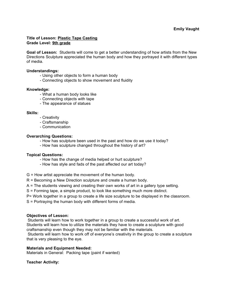 Plastic Tape Casting Lesson Plan | Sculpture | Lesson Plan