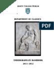 Classics Undergraduate Handbook 2011-12