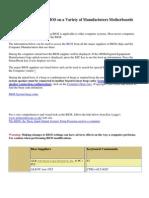 Acess Motherboard BIOS - BIOS Keys