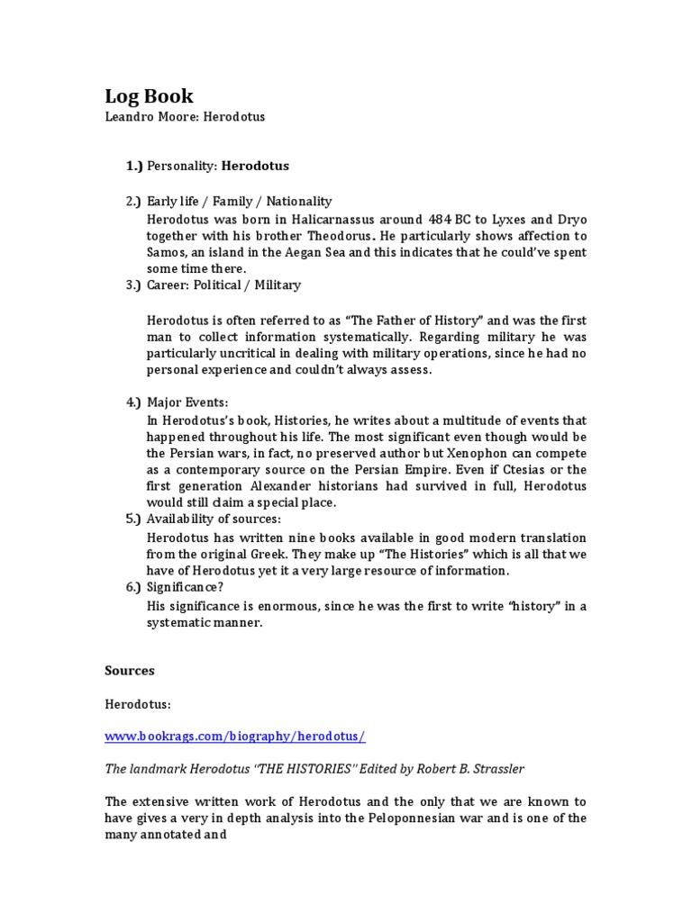 log book herodotus thucydides