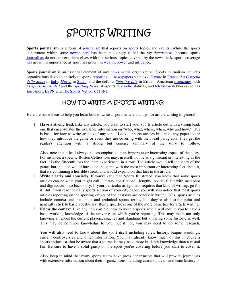 sports writing lead examples