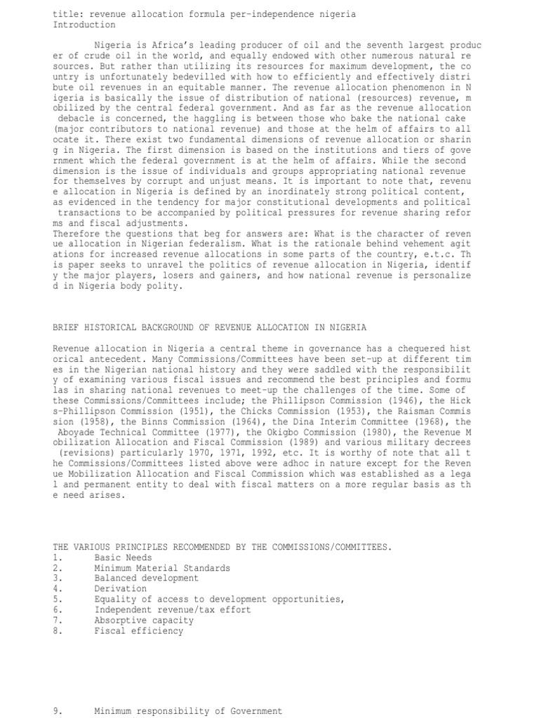 revenue allocation formula in nigeria pre-independence | Nigeria ...