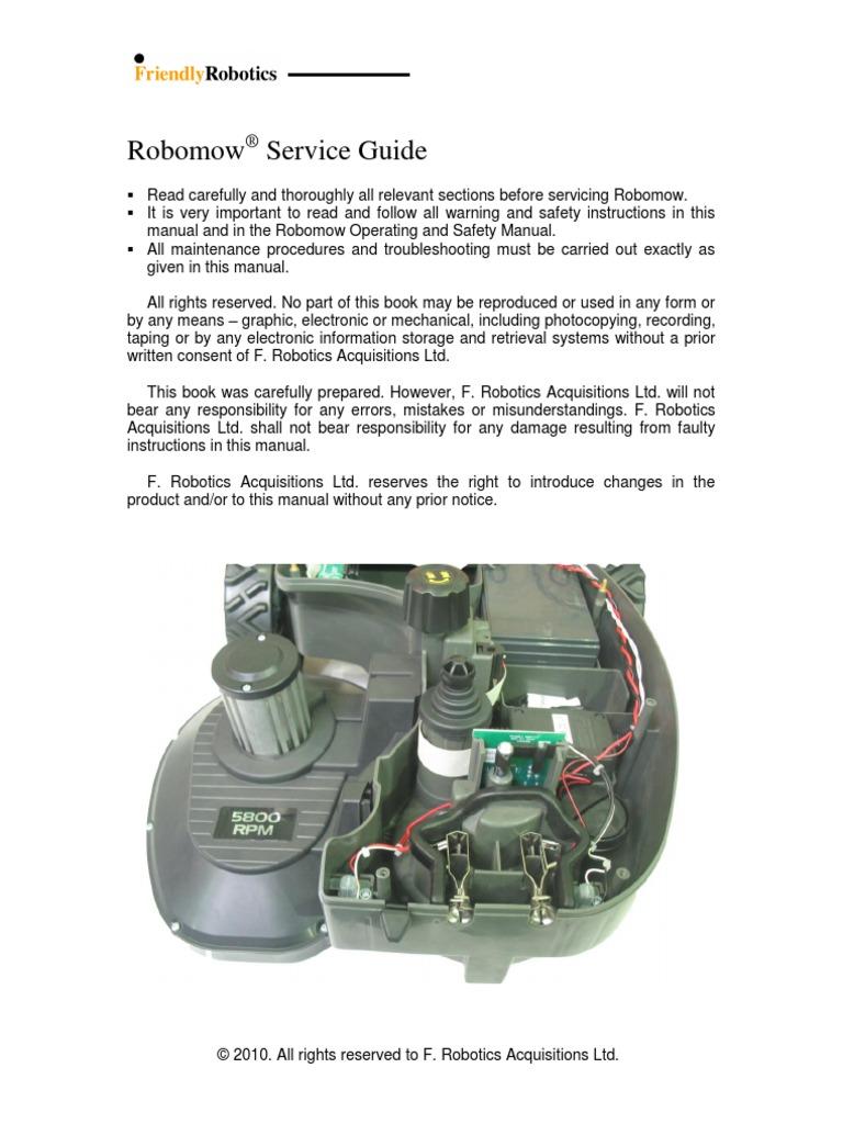 friendly robotics robomow rm510 service guide mower gear rh pt scribd com robomow rm400 service manual robomow rm400 service manual