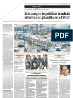 Las empresas de transporte público tendrán a choferes en planilla desde el 2013