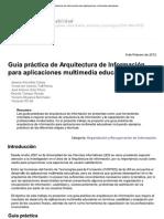Guía práctica de Arquitectura de Información para aplicaciones multimedia educativas