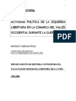 Actividad Politica de la izquierda libertaria en la comarca del Vallés Occidental durante la Guerra Civil