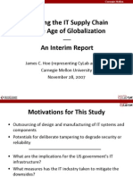 2007 11 28 James Hoe CMU CyLab and CSSI Interim Report for ISAs Secure Manufacturing in the Age of Globalization Workshop