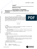 As 3706.11-2004 Geotextiles - Methods of Test Determination of Durability - Resistance to Degradation by Ligh