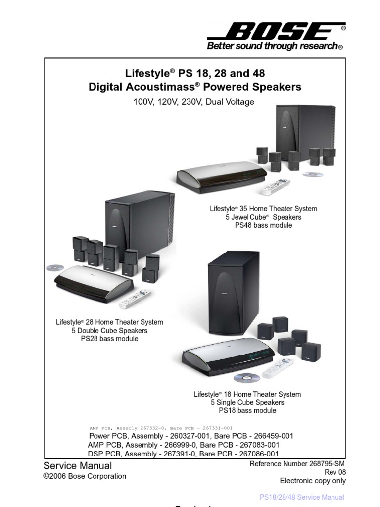 Bose Lifestyle Ps 18  Ps 28  Ps 48 Service Manual