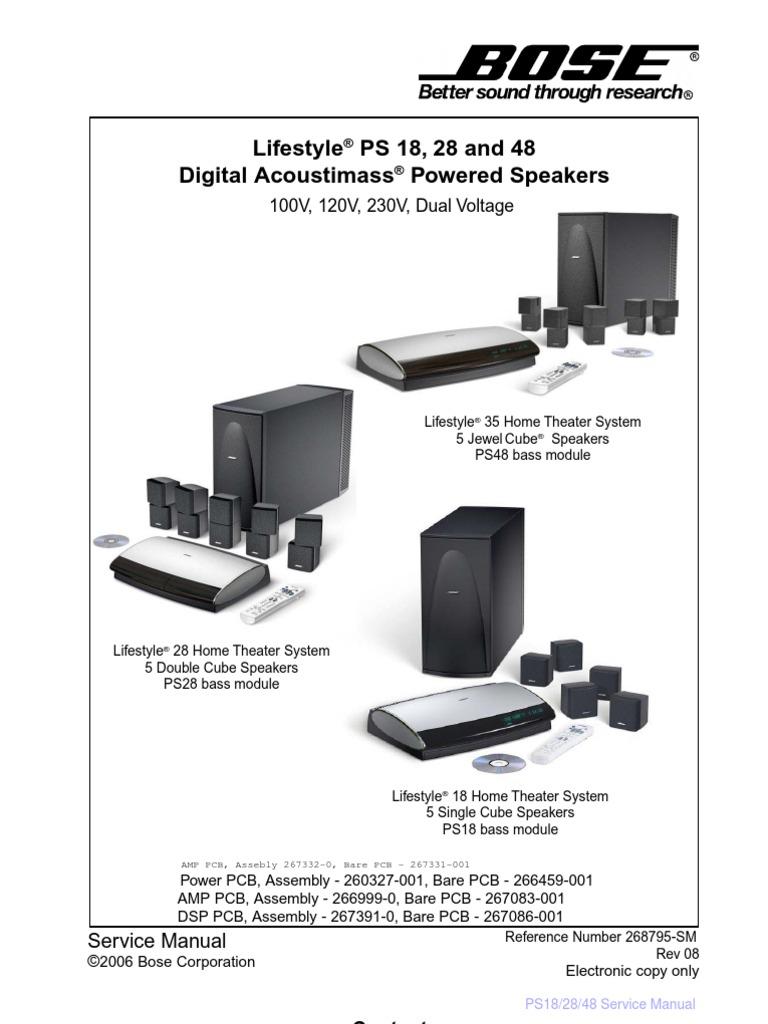 bose lifestyle ps 18 ps 28 ps 48 service manual electrostatic rh es scribd com Bose 321 Setup Diagram Bose 321 Manual PDF