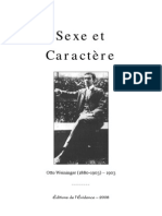 Weininger Otto Sexe Caractere(4 Chapitres)