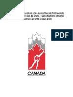 Mesures de prevention et de protection de Patinage de vitesse Canada en cas de chute – Spécifications et lignes directrices pour la longue piste
