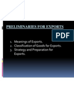 Preliminaries for Exports