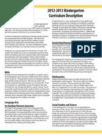 2012-2013 Kindergarten Curriculum Description