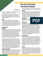 2012-2013 Fourth Grade Curriculum Description