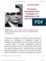 Godel's the Modern Development of the Foundations of Mathematics in the Light of Philosophy