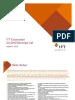 ITT Corporation Q2 2012 Earnings