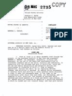 Criminal complaint against Bernard L (Bernie) Madoff