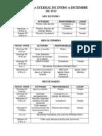 Cronograma Eclesial de Enero a Diciembre de 2012