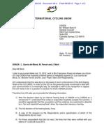 McQuaid/UCI July 13 letter to Bock/USADA re