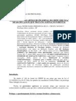 MANIFESTAÇÃO AO ARTIGO DO PSI JORNAL DO CRPSP abr