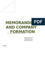 Memorandum and Company Formation