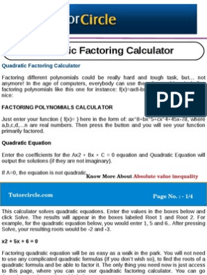 Quadratic Factoring Calculator | Factorization | Quadratic