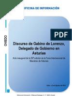 Intervención de Gabino De Lorenzo, Delegado de Gobierno en Asturias en el acto inaugural de FIDMA2012