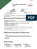 Oracle 10g OCP DBA Exam Details