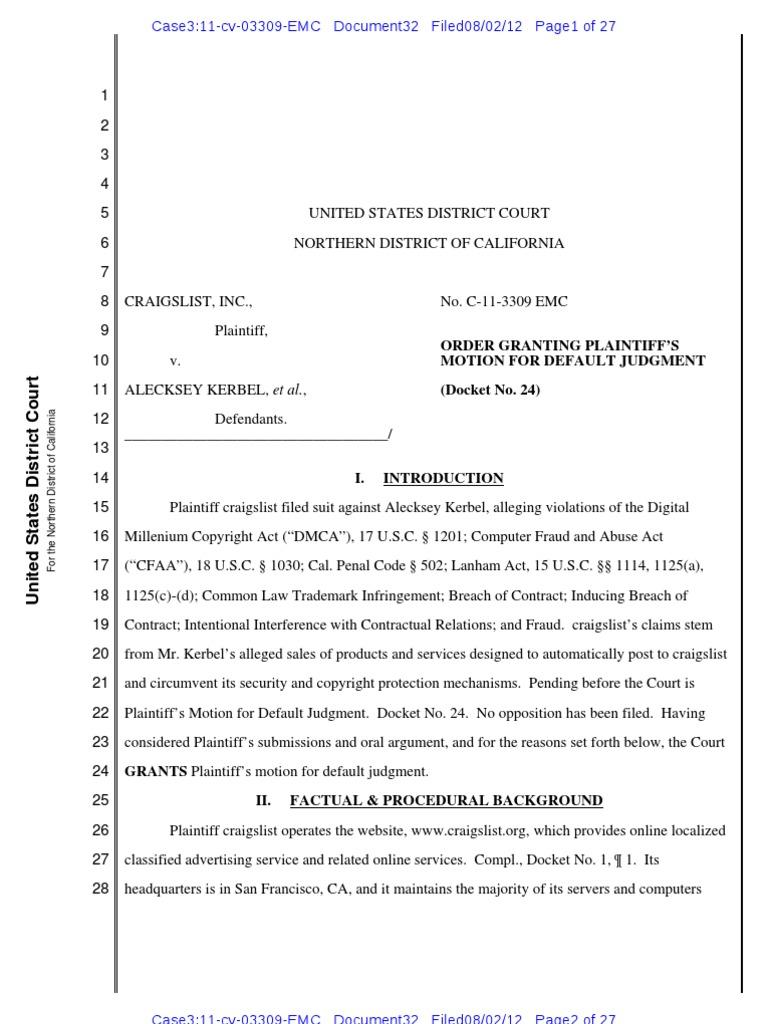 Craigslist v  Kerbel   Digital Millennium Copyright Act