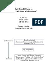 ICME12 Understanding Math Usiskin