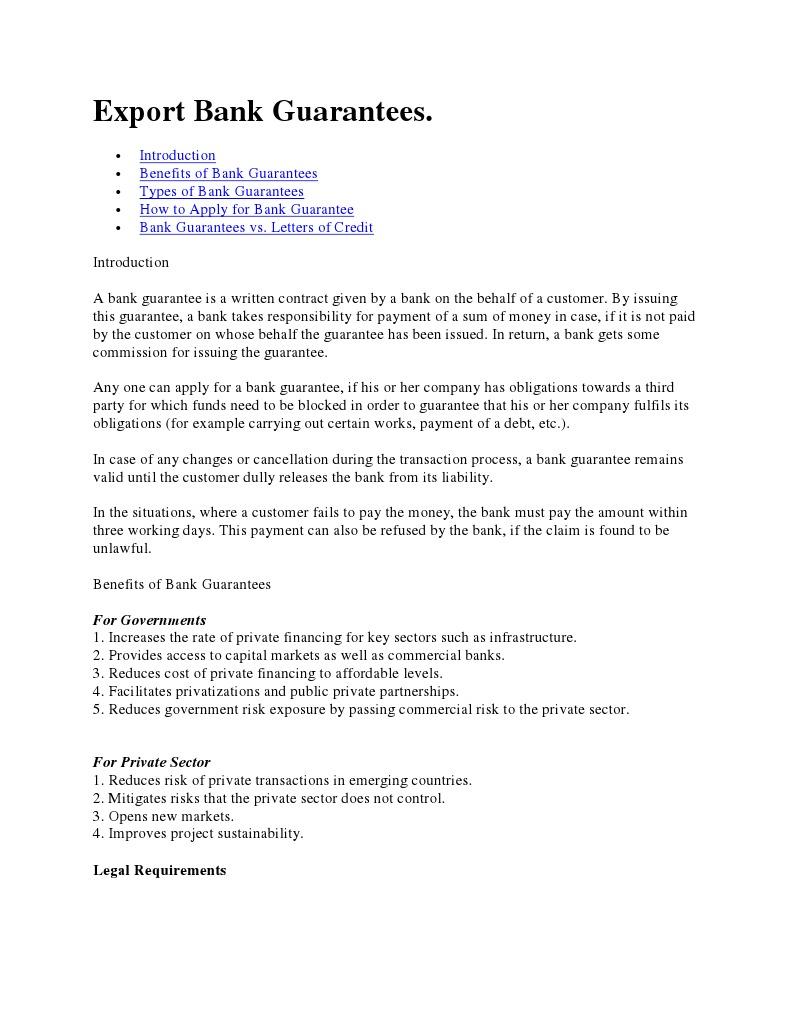 Export Bank Guarantees Guarantee Credit Finance