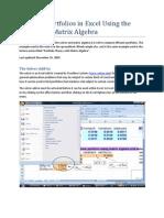 Efficient Portfolios in Excel Using the Solver and Matrix Algebra
