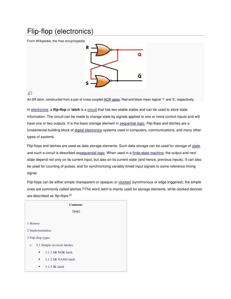 Flip Digital Electronics Electronic Design Flop Circuit Of A Rs Built With D 2 The Jk