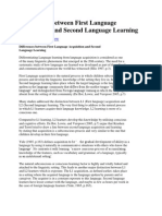 Differences Between First Language Acquisition and Second Language Learning