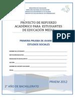 Primera Prueba de Avance de Estudios Sociales - Segundo Año de Bachilllerato - PRAEM 2012