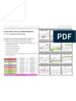 Calendario de exámenes bimestrales 2012-2013